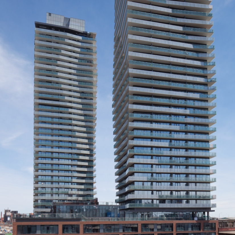 Exterior image of two condo buildings in Toronto